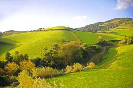 portugal agriculture: View of Mountains and hills on the island of Sam Miguel Azores in Portugal. Stock Photo