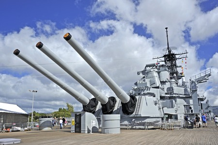 Pearl Harbor, Hawaii - December 7, 2011: Visitors are exploring the upper deck of the USS Missouri.
