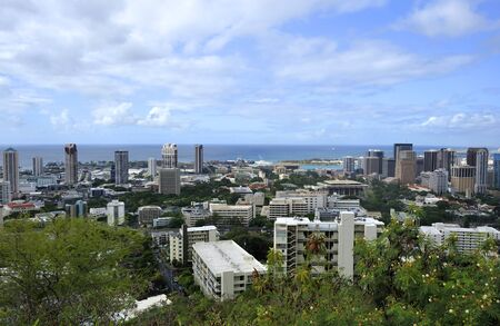diamond head: View of City of Honolulu from the Diamond Head