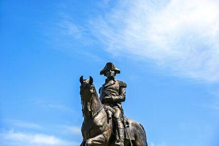 george washington: Monumento a George Washington en Boston Common Foto de archivo