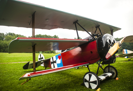 aerodrome: World War I aircraft is parked on the airfield of the Old Rhinebeck aerodrome