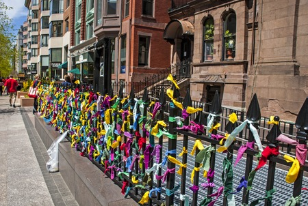 Memorial set up on Boylston Street in honor of the Boston Marathons victims who died during the terror attack on April 15, 2013.