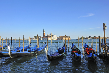 grand canal: Gondolas, famous boats of Venice on the Grand Canal.