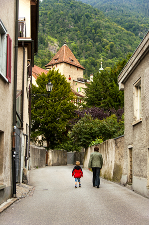 swiss culture: Chur, Switzerland Stock Photo