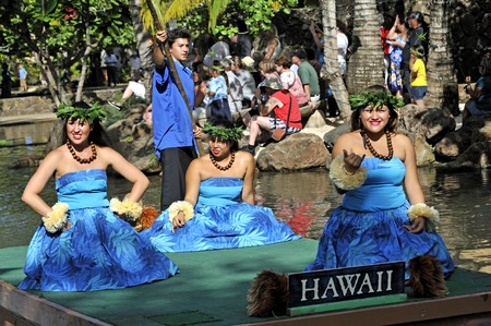 Hawaiian dance at the Polynesian Cultural Center in Honolulu Editorial