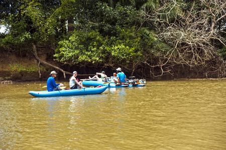 fortuna: La Fortuna, Costa Rica - February 23, 2014: Kayakers  in the Cano Negro wildlife refuge.