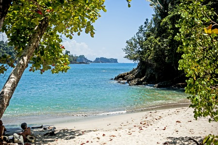 Sand beach in the Manuel Antonio National Park in Costa Rica Stock Photo
