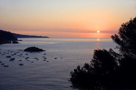Sunset at Tossa de Mar Bay, Costa Brava, Spain Stock Photo