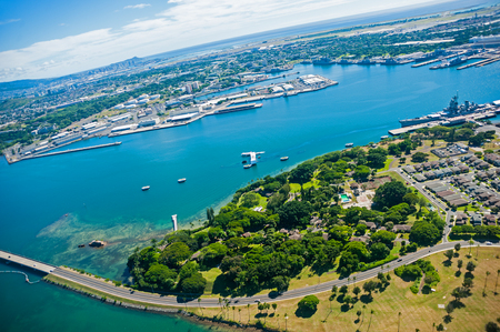 Aerial view of Pearl Harbor, Oahu island, Hawaii Stock Photo