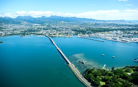 Aerial view of Pearl Harbor, Oahu island, Hawaii Stock Photo