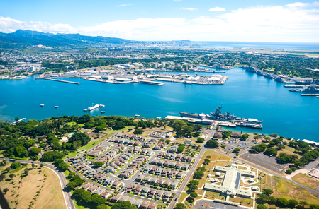 Aerial view of Pearl Harbor in Hawaii Stock Photo