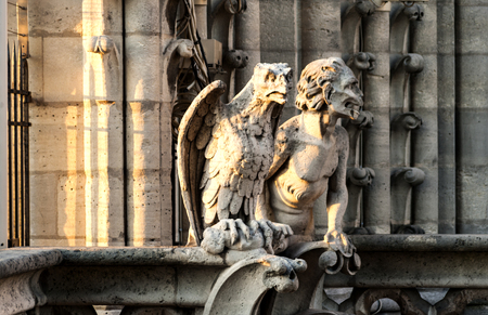 Stone statues on the roof of  the Notre Dame Cathedral