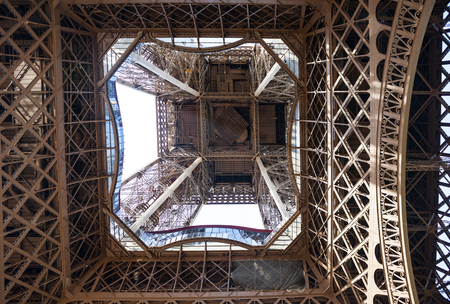 View of the metal structure of the Eiffel Tower, Paris Stock Photo