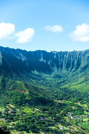 Aerial view of Oahu island in Hawaii