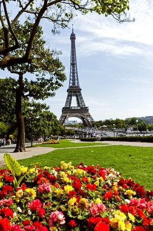 The Eiffel tower as seen from the Trocadero, across the Seine River Stock Photo