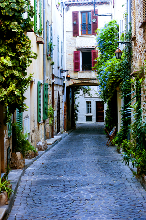 View of a back street in Antibes,a Mediterranean resort in the southeastern France, between Cannes and Nice.