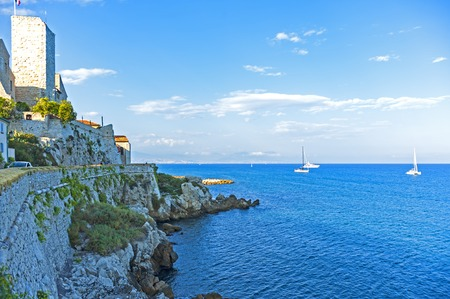 View of coastline in Antibes,a Mediterranean resort in the southeastern France, between Cannes and Nice.