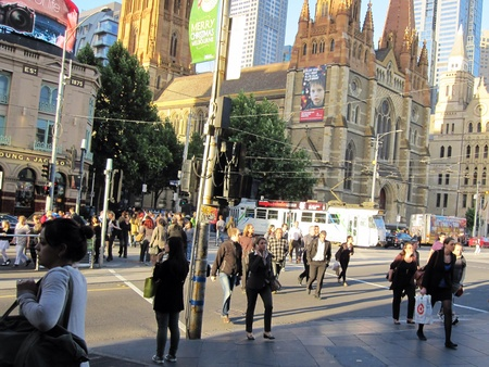 flinders: Busy street in front of Flinders Street Station Melbourne Australia Stock Photo