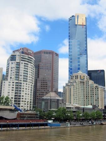 beside: Skyscrapers beside Yarra River Melbourne Australia