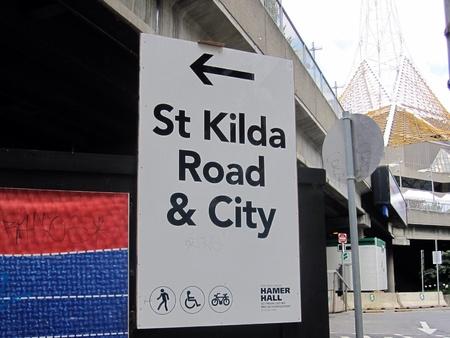 st kilda: St Kilda road street sign Melbourne Australia