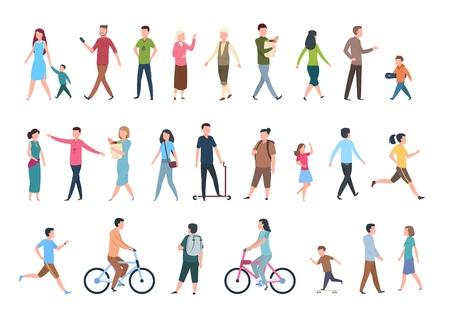 Gente caminando. Personas en ropa casual, multitud camina en la ciudad. Conjunto aislado de personajes humanos vectoriales