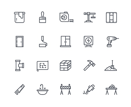 Build line icons. Home construction materials, digging and painting repair. Maintenance and building outline vector pictograms