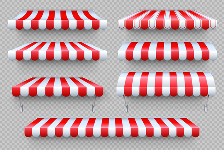 Stripe awning. Cafe tent, shop roof. Canopy sunshade for store window, outdoor market awnings vector isolated set Foto de archivo - 116608047