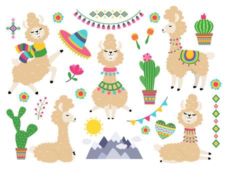 Llama set. Baby llamas cartoon alpaca, wild lama. Girl invitation elements vector collection