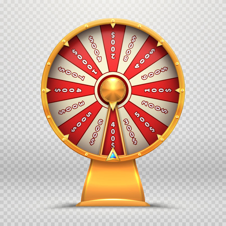 Fortune wheel. Turning roulette 3d wheels lucky lottery game gambling symbol isolated vector illustration Фото со стока - 127158312