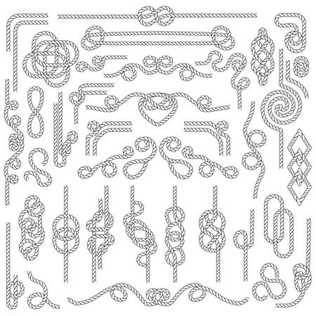 Rope knot. Marine cordage with nautical knots. Navy decoration vector elements Фото со стока - 127158313