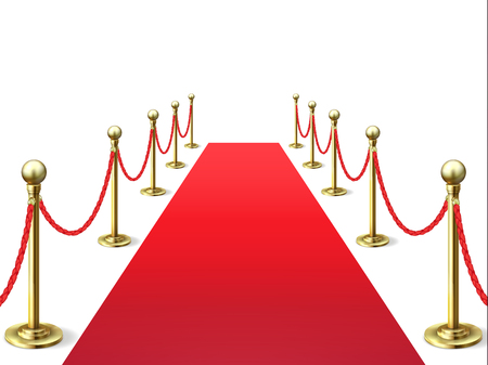 Red carpet. Event celebrity carpets with rope barrier. Vip interior. Hollywood academy movie premiere vector background Фото со стока - 127158314