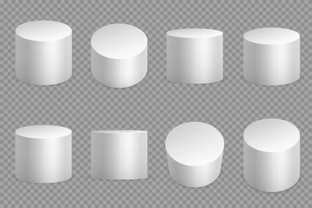 Round podium 3d bases. White cylinder solid pedestal. Pillar circular foundation isolated vector set Фото со стока - 127158315