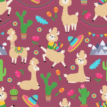 Llama seamless pattern. Alpaca baby and cactus girly textile texture. Lama tribal vector concept