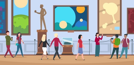 People in art museum. Viewers walk and watch painting and artworks in contemporary art exhibition vector illustration