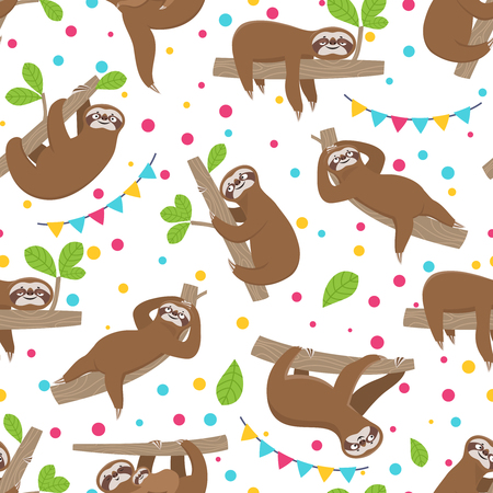 Sloth seamless pattern. Relaxing sloths on jungle summer forest brunches. Adorable girl baby vector texture