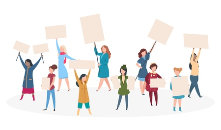 Protest womans. Girl feminism with placard on manifestation, demonstration. Woman rights vector concept