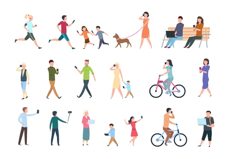 People with smartphones. Many women and men with phones. Persons with gadget taking selfie. Vector characters set