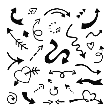 Doodle arrows set. Sketch arrows, hand drawn curve pointer icons isolated on white background