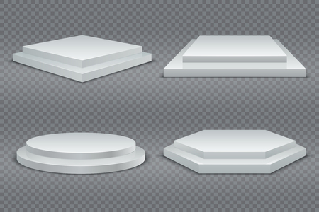 White podiums. Round and square 3d empty podium with steps. Showroom pedestals, floor stage platform vector isolated mockup Фото со стока - 126946888