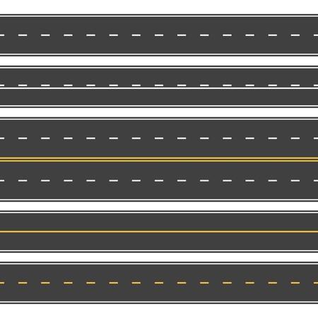 Straight roads seamless. Endless asphalt street, top view roadway. Empty horizontal highway vector set Illustration
