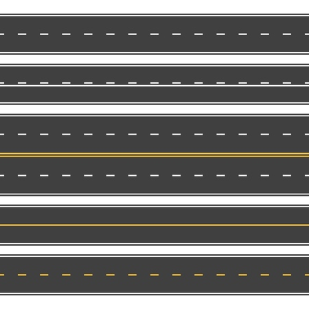 Straight roads seamless. Endless asphalt street, top view roadway. Empty horizontal highway vector set Иллюстрация