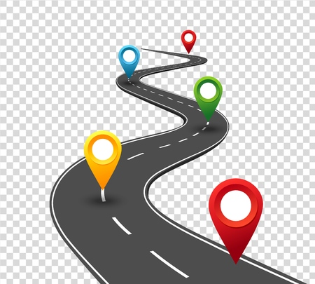Road infographics. Winding road to success with pin pointers. Business journey way. Progress vector concept Фото со стока - 126946891