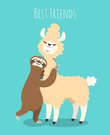 Llama and sloth. Alpaca with sloth lazy bear. Baby t-shirt design, funny vector poster