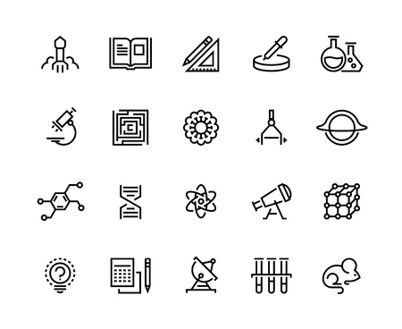 Science line icons. Laboratory equipment physics chemical biology research. University education, scientific vector symbols Фото со стока - 126946895