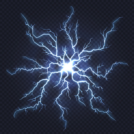 Lightning thunder. Flash electricity, spark strike, blue light blitz electric flare, natural energy flash lightning night storm vector Фото со стока - 126946898