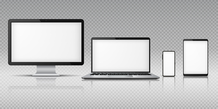 Realistic computer laptop smartphone. Tablet gadget mockup, pc laptop mobile devices. Monitor screen display vector template Фото со стока - 126771892