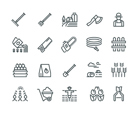 Farming line icons. Garden lawn organic vegetables and fruits, village gardening tools and equipment. Harvesting vector symbols