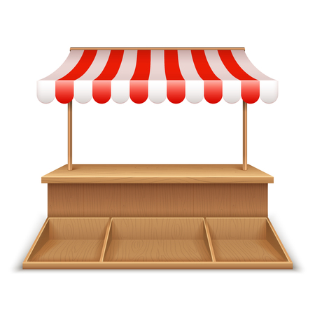 Empty market stall. Wooden kiosk, street grocery stand with striped awning and counter desk vector template