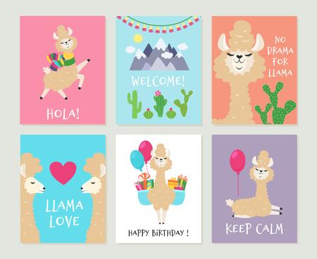 Llama invitations. Cute alpaca birthday greeting card. Cartoon funny pink lamas girls vector backgrounds Stock Illustratie