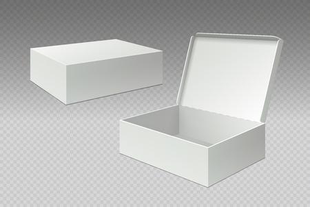 Boîtes d'emballage réalistes. Ouvrez l'emballage vierge de la maquette, carton de papier carré blanc. Modèle 3d de vecteur de pack de carton vide